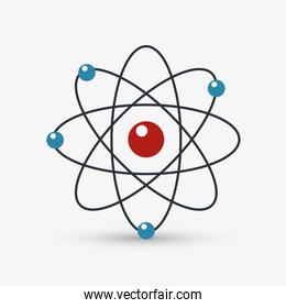 Colorful atom icon over white background