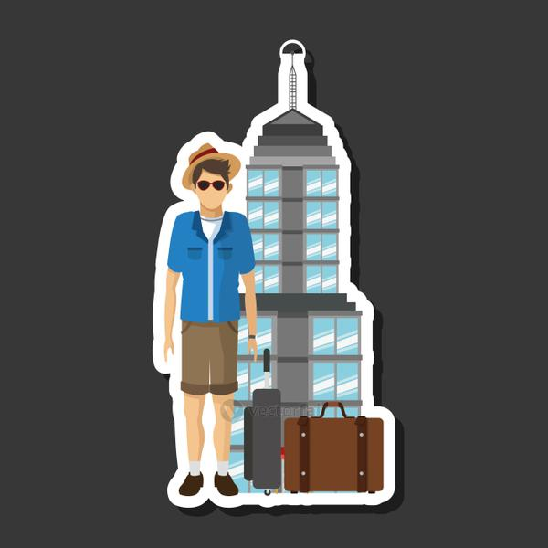 travel design, vacations and tourism concept, vector illustration