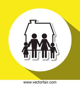 Family design, relationship and home concept, vector illustration