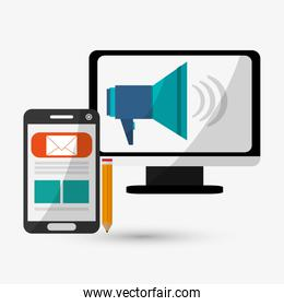 Digital Marketing design.Communication and ecommerce. Colorful, vector