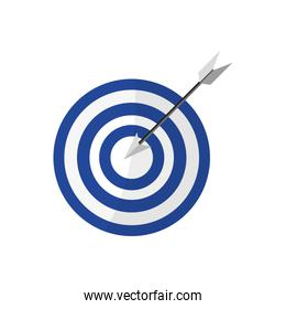 bullseye with arrow in the center , Vector illustration over white background