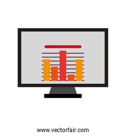 computer monitor with graphic , Vector illustration