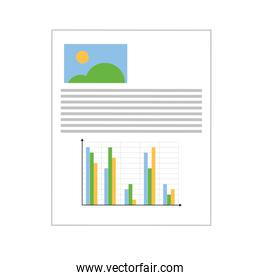 paper with graph and picture , Vector illustration