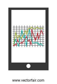 cellphone with graph , Vector illustration