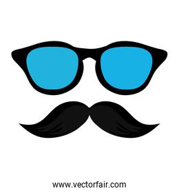 classic frame glasses with mustache