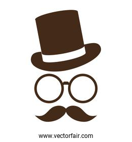 hat with glasses and mustache