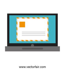 laptop with envelope , vector illustration