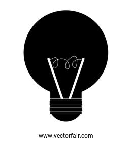 black simple lightbulb , vector illustration