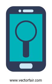 blue cellphone with magnifying glass