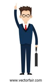 businessman with hand up icon