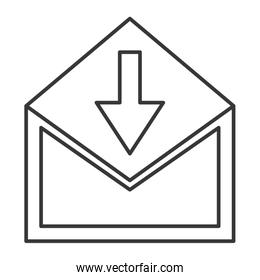 envelope with downward arrow icon