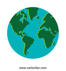earth globe with distinction between water and land icon