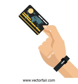 hand holding credit or debit card icon