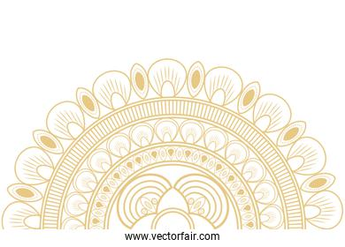 circular decorative line half mandala icon