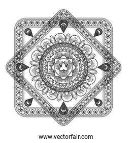 squared decorative line mandala icon