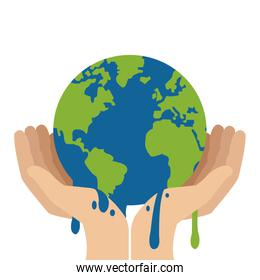 hands holding planet earth melting icon