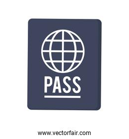 passport with earth diagram icon