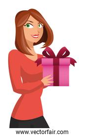 woman holding gift box with bow icon