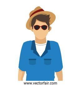 male tourist with glasses and hat icon