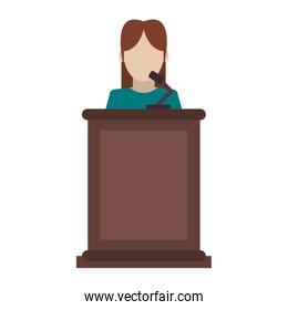woman speaking on stand icon