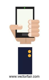 hand holding cellphone icon