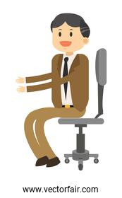 smiling businessman sitting on chair icon
