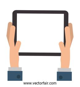 hands holding tablet icon