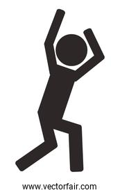 person with arms up pictogram icon