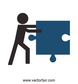 person holding puzzle piece icon