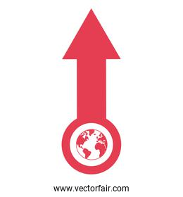 arrow pointing up with planet earth icon