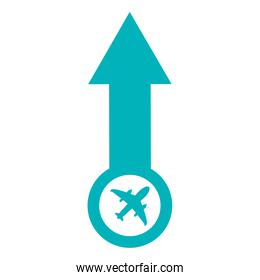 arrow pointing up with airplane icon