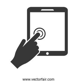 hand touching tablet icon
