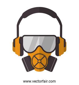 gas mask with protection goggles and isolation headphones icon
