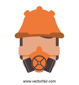 person wearing gas mask and helmet icon