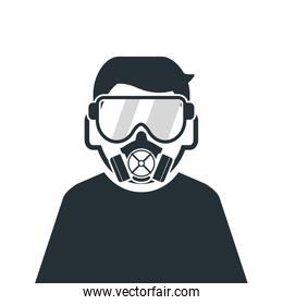 person wearing gas mask icon