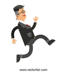 businessman running icon isolated