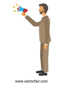 businessman with megaphone isolated icon