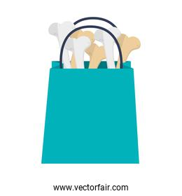 shopping bag with bones icon