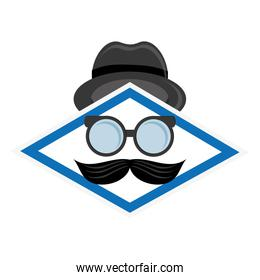 hat glasses and mustache icon