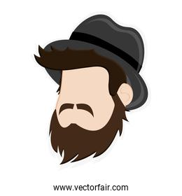 faceless man head with facial hair and hat icon
