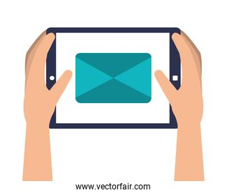 hands device tablet icon