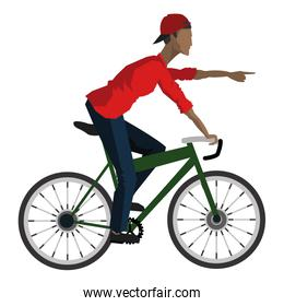 man riding bike pointing forward icon