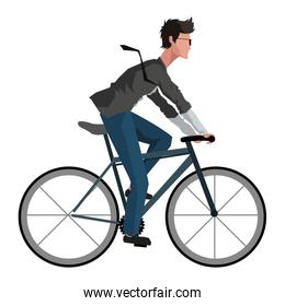 man riding bike icon