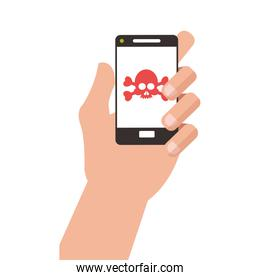 hand holding modern cellphone with skull and bones on screen icon