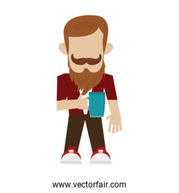 hipster man with beard and mustache