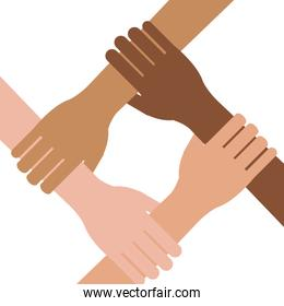Multi ethnic hands teamwork unity