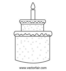 sweey cake birthday icon with candle