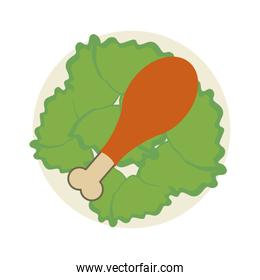 chicken drumstick on plate icon