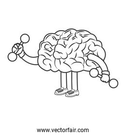 human brain lifiting weights icon