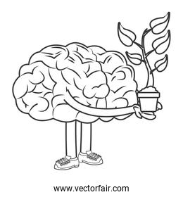human brain holding sprout design